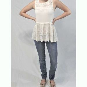 Knox Rose ~ Ivory and Lace Summer Top